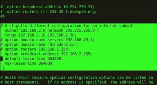 Lineas preconfiguradas en nuestro servidor DHCP